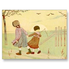 """Children"" Vintage French Illustration Postcards"