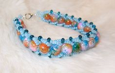 Rainbow colour and blue bracelet by enlora on Etsy