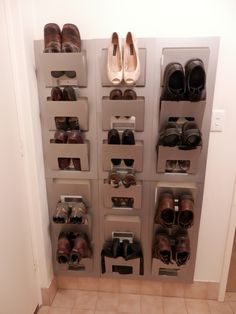 Ikea magazine holder turned shoe rack.. would be good for in the garage