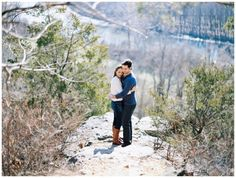 rustic castlewood state park engagement photos on an overlook in missouri www.cindyleephotography.com