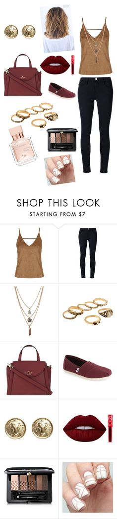 """Bzzing"" by coffeemoundsandlipstickclouds ❤ liked on Polyvore featuring Topshop, Frame Denim, Forever 21, Kate Spade, TOMS, Chanel, Lime Crime, Guerlain and Maison Francis Kurkdjian"