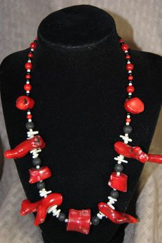 60% OFF Genuine Red and White Bamboo Coral by REILHandmadeCreation