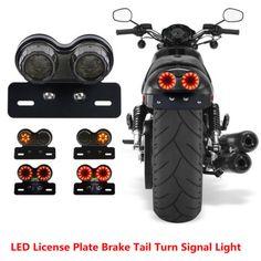 Motorcycle License Plate Integrated Brake Tail Turn Signal LED Lamp Smoke Light