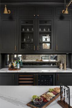 Empty-nester Home Renovation Mirror Backsplash Kitchen, Black Backsplash, Kitchen Mirrors, Antique Mirror Splashback, Backsplash With Dark Cabinets, Antiqued Mirror, Dark Grey Kitchen, Black Kitchen Cabinets, Black Kitchens