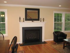 New fireplace mantle and marble surround.