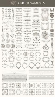 2パック合わせて235パーツ! エレガントなデザインに映えるビンテージ飾りのイラストパーツ集。フ…