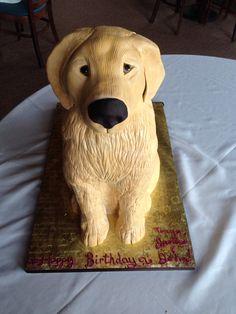 Golden Retriever cake  Dog cake. www.artistacakes.com