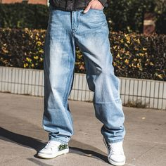 49.56$  Buy now - http://aliona.worldwells.pw/go.php?t=32688206724 - 2016 Cotton Long Loose Skateboard Harem Pants Men Jeans Big Sizes Baggy Hip Hop Jeans Large Size 40 42 44 46 49.56$