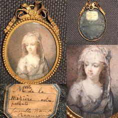Portrait Miniature De Mlle De La Mezière Vers 1790, Elassan Antiquités, Proantic