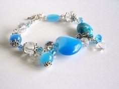 Blue Bracelet  Cats Eye Bracelet Light Blue Beaded por NataliStudio, $9.50