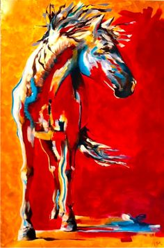 Horse Art Thermal by jennifer mack 36x24   Acrylic on Canvas SOLD www.jmackfineart.com