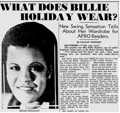 My Pretty Baby Cried She Was a Bird: What Does Billie Holiday Wear? (Newspaper Article,1937)