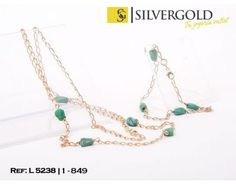 1-1-849-1-Conjunto de pulsera (19 cm) y cadena (60 cm) con turquesas barrocas L5238 Turquoise, Chains, Silver, Gold, Bangle Bracelets, Jewels