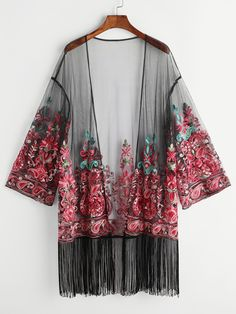 Online shopping for Fringe Trim Embroidered Mesh Kimono from a great selection of women's fashion clothing & more at MakeMeChic.COM.