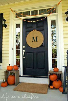 Fall Front Porch Decorating - I like almost everything.from the warm butter siding paired with the classic, black elements to the sidelights and transom window to the simply stated seasonal decor. So welcoming! Front Door Decor, Front Porch, House Front, Front Doors, Entrance Doors, Front Yards, Front Entry, Porch Swing, Front Desk