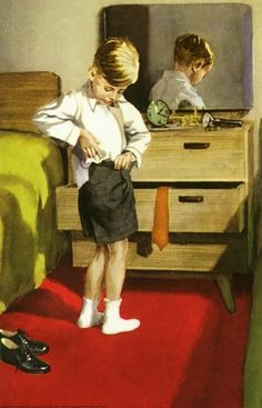 He puts on his white shirt -The Party - LadyBird Books 1960