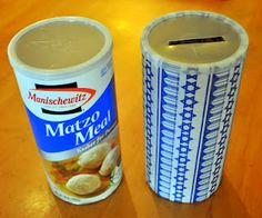 Matzah Ball Tzedakah Boxes - using a Matzah Meal carton or bread crumb container, cover it with Jewish wrapping paper that we had (or any wrapping paper), made a slit in the lid, and voila- our very own Tzedakah box. Kindness Activities, Activities For Kids, Crafts For Kids, Kindergarten Sunday School, Tzedakah Box, Feasts Of The Lord, Bird Feeder Craft, Jewish Crafts, Hebrew School