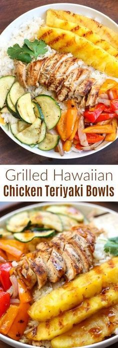 Healthy Recipes : Illustration Description Grilled Hawaiian Chicken Teriyaki Bowls with coconut rice, zucchini squash, bell peppers, onions, and pineapple topped with a delicious and easy homemade teriyaki sauce! Teriyaki Bowl, Teriyaki Chicken With Pineapple, Pinapple Chicken Recipes, Pasta Recipes, Cooking Recipes, Healthy Recipes, Recipes Dinner, Salmon Recipes, Gourmet
