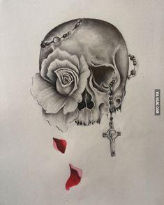 Skull and rose tattoo design!