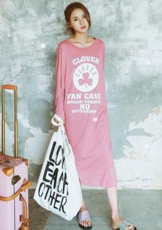Buy Round Neck Graphic Long T-Shirt Dress | mysallyfashion.com Malaysia