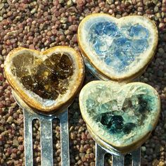 Ceramic hearts with recycled fused glass from Paloma Pottery