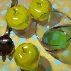 """Blue Dots"" - Original Fine Art for Sale - © Carol Marine"