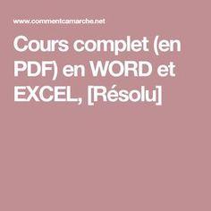 Cours complet (en PDF) en WORD et EXCEL, [Résolu] Android Secret Codes, Internet, Photoshop Illustrator, Microsoft Excel, Tech, Coding, Positivity, Education, How To Plan