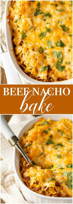 Beef Nacho Bake - Exactly what you need to make when you are craving something hearty and filling. It's easy to make and so delicious.