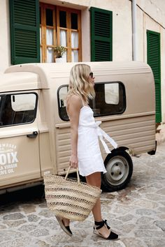 Little white dress, beach basket bag & espadrilles | @styleminimalism
