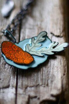 Lichen Necklace   [sterling, copper, enamel, graphite]   Jillian   Flickr