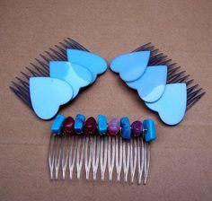 Vintage hair comb 3 blue heart hair accessories by ElrondsEmporium