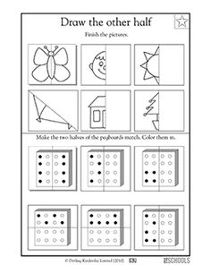 A line of symmetry divides each of these images. This coloring math worksheet asks your child to draw the other half of each image to make both sides match.