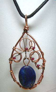 Filigree Victorian Style Blue Vase Bloom Copper by SpottedCraft, $12.00