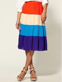 Chandi and Lia Colorblock Striped Skirt | Piperlime $19.97