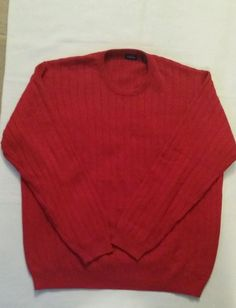 Check out New Items Every Week @ Every2ndCounts!! Follow Us!!  Izod Men's Crew Neck Pullover Sweater Size Large Red Cotton Knit  #IZOD #Crewneck