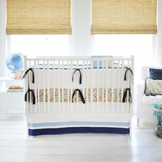 Designer crib bedding Rhapsody in Blue Baby Bedding Set custom made in the USA. Ships free in weeks. Choose matching window drapes to complete your nursery decor Baby Boy Bedding Sets, Baby Crib Sheets, Baby Cribs, Blue Crib, Restoration Hardware Bedding, Pottery Barn Teen Bedding, Rhapsody In Blue, Origami, Colorful