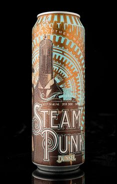 SteamPunk Dunkel, by Longwood Brewery. Product Naming, Branding & Packaging Design by Hired Guns Creative. Cool Packaging, Food Packaging Design, Bottle Packaging, Packaging Design Inspiration, Brand Packaging, Branding Design, Coffee Packaging, Brand Inspiration, Beverage Packaging