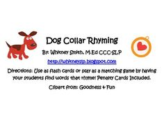 Dog Collar Rhyming - Pinned by @PediaStaff – Please Visit ht.ly/63sNtfor all our pediatric therapy pins