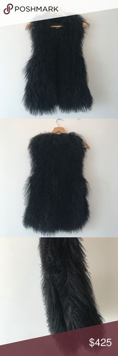 VINCE Mongolian Lamb Genuine Fur Vest Gilet Excellent condition, size XS, but could fit up to S. Beautiful and warm curly lamb gilet. Hidden hook and eye closure. Leather panels at the sides and center front. Slight rub marks on the suede on the lining (by tag, see pictures). 100% genuine fur. MSRP $795. Lower via 🅿🅿 Vince Jackets & Coats Vests