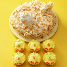 Mother Hen & Chicks Dessert: Chick cupcakes are a cute idea for decoration (ignore the mother hen cake)