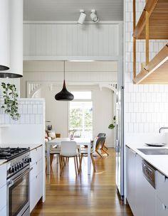 Renovating A Classic Queenslander And Celebrating Timber Kitchen Interior, Kitchen Design, Kitchen Tiles, Kitchen Cabinets, Queenslander House, Cottage Renovation, New Farm, The Design Files, Australian Homes