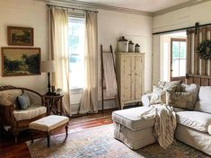 Or hoarder? There's a fine line I think. A line I've happily, if not excitedly, crossed over and over again and I have no… Farmhouse Interior, Farmhouse Style, Farmhouse Rugs, Little Compton, Drop Cloth Curtains, Rugs Usa, Cool Rugs, Home Living Room, Decoration
