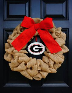 Burlap Collegiate Sports Wreath