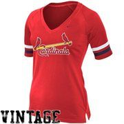 Nike St. Louis Cardinals Ladies Cooperstown Collection Fan V-Neck Slim Fit T-Shirt