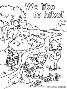 Summer Fun. Hiking with Reader Bee and Friends.  Free coloring page.