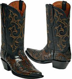 Womens Craftsman Hand Tooled Leather Custom Black Jack Boots HT-12