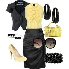 Yellow! cute spring outfit, love the mix of yellow & blk