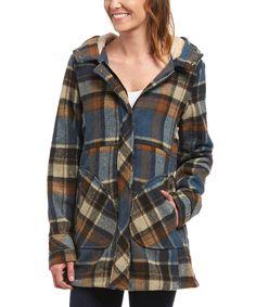 Look what I found on #zulily! Urban Republic Blue & Brown Plaid Hooded Coat by Urban Republic #zulilyfinds