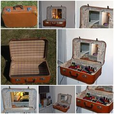 From old suitcase to dressing table
