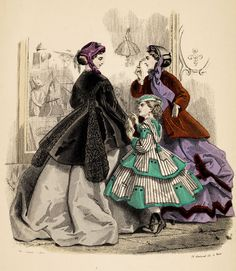 llustration of Ladies' Fashions, from The Englishwoman's Domestic Magazine, 1860,